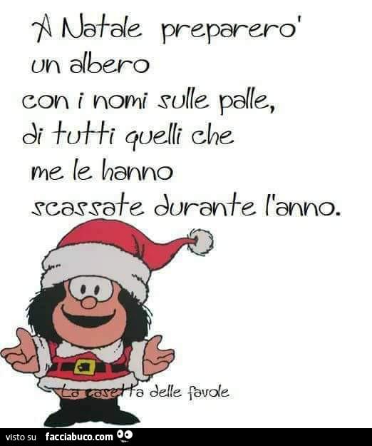 A Natale preparerò un albero con i nomi sulle palle, di tutti quelli che me  le hanno… - Facciabuco.com