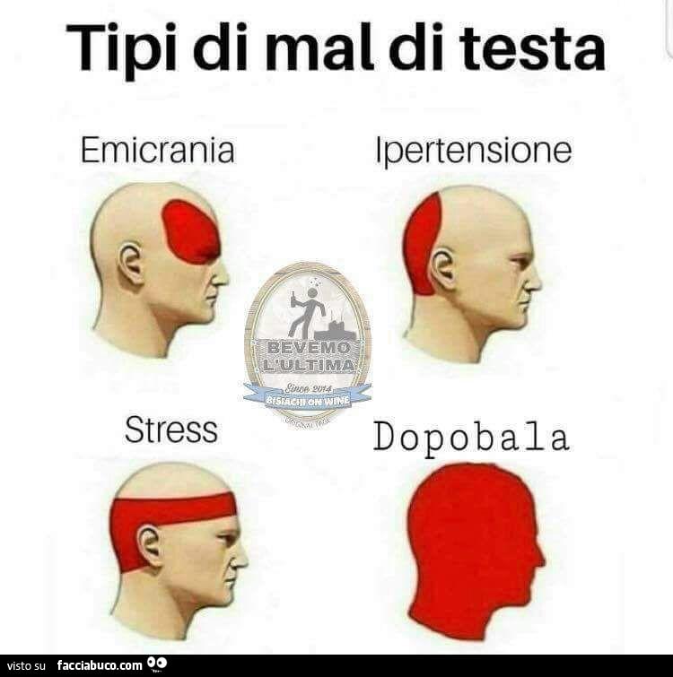 Tipi di mal di testa: emicrania, stress, ipertensione..