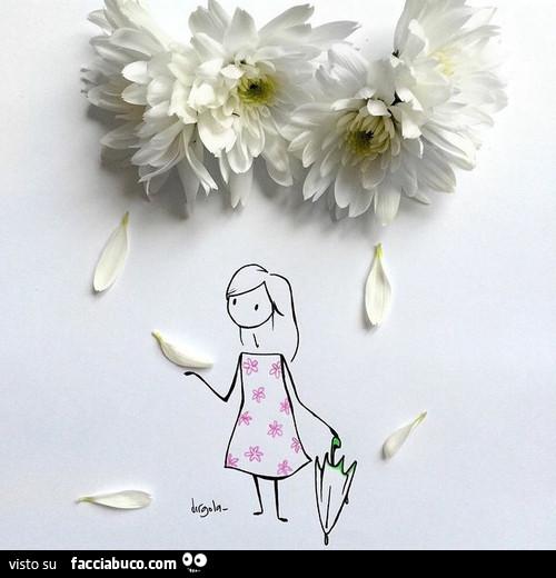Petali Di Fiore Sul Disegno Della Signorina Con L Ombrello