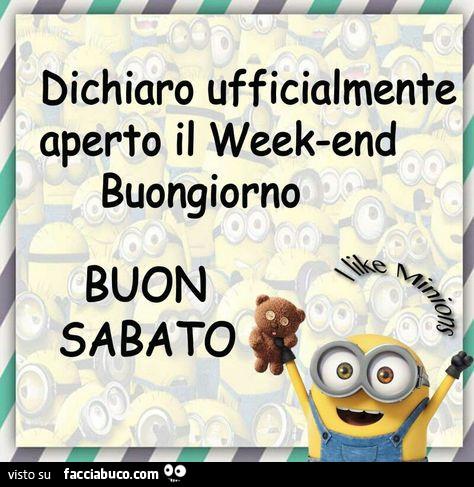 Dichiaro ufficialmente aperto il week end buongiorno for Buon sabato divertente