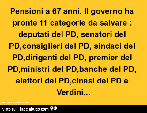 Pensioni a 67 anni il governo ha pronte 11 categorie da for Deputati del pd